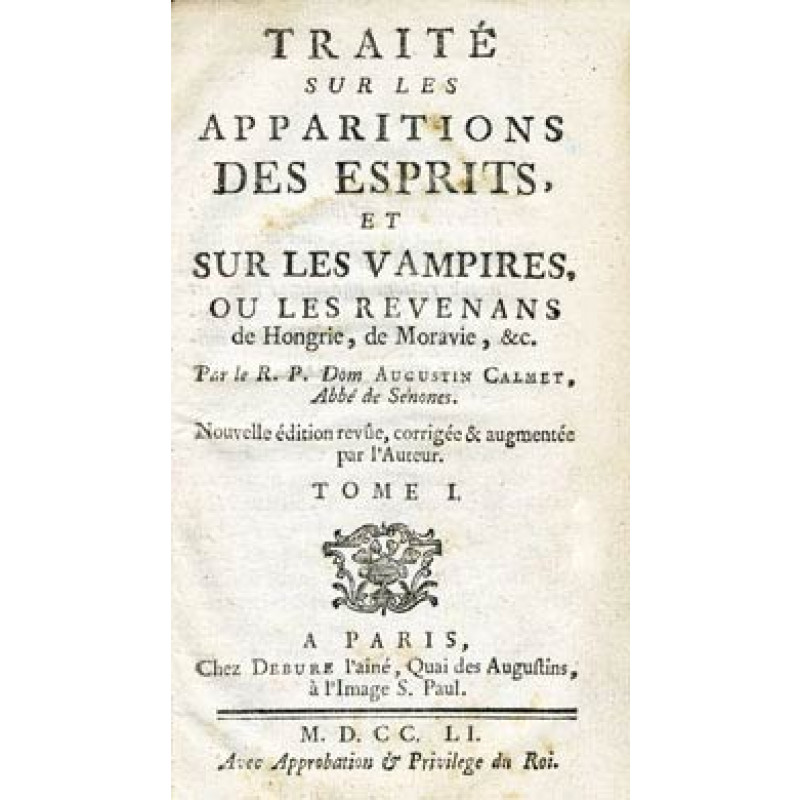 Dom Augustin Calmet, 1751