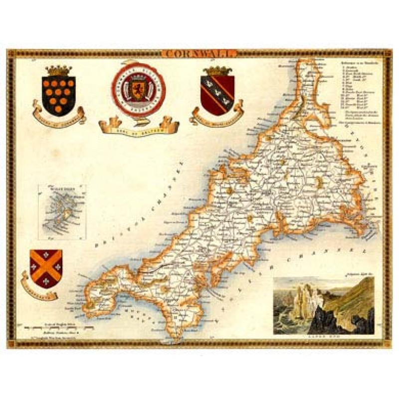 Cornwall Map, 1830