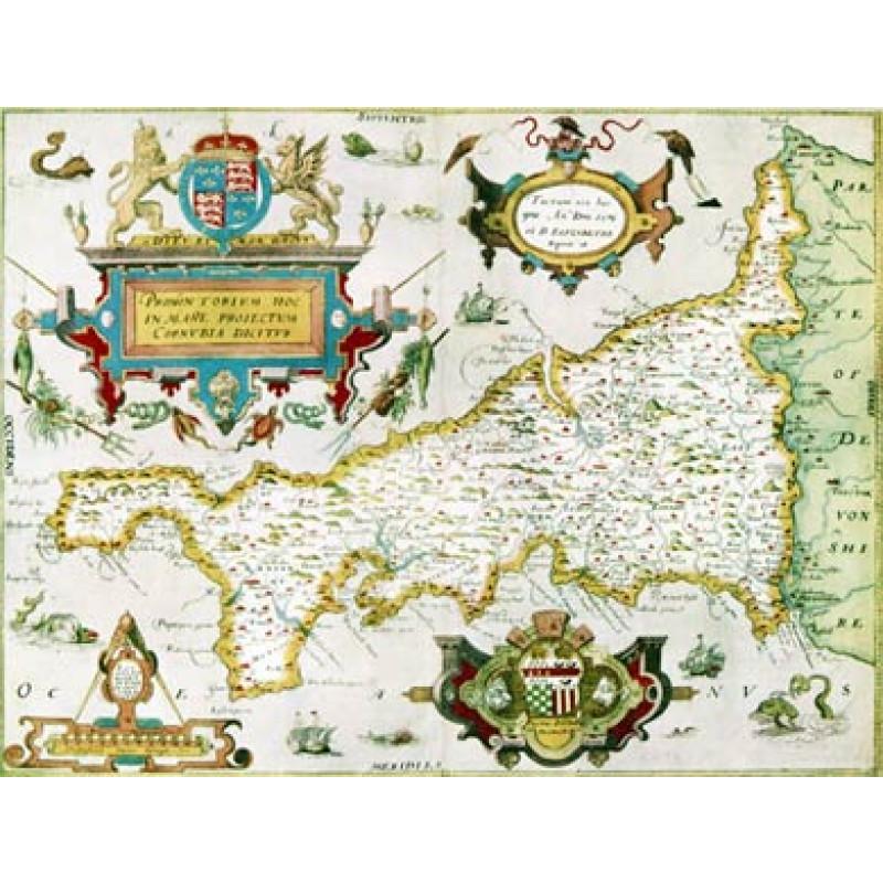 Saxton's Cornwall, 1576