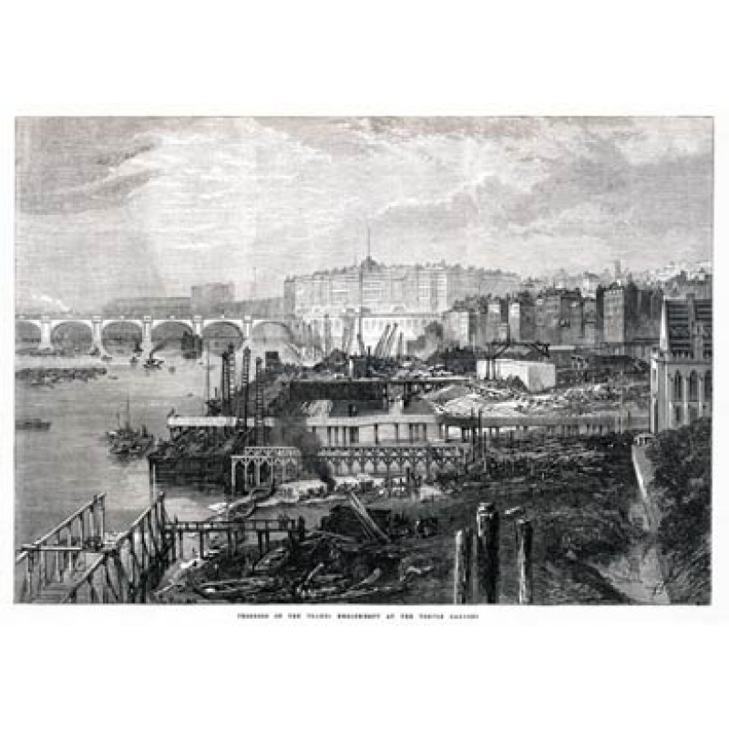 Building The Thames Embankment, Temple, 1865