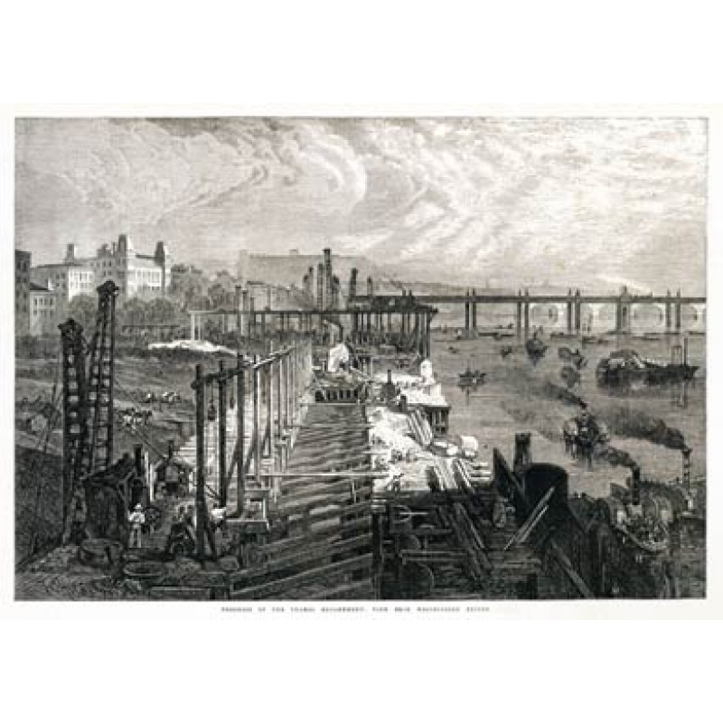 Building The Thames Embankment, From Westminster Bridge, 1865