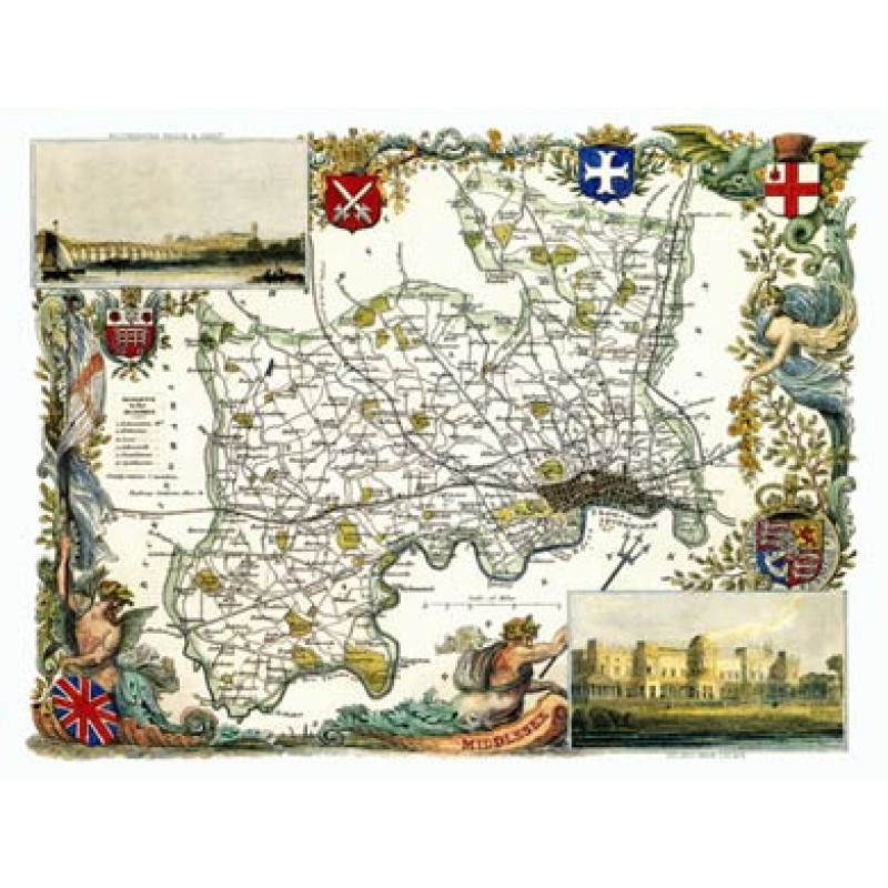 Middlesex, Thomas Moule Map