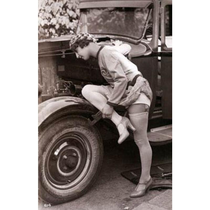 Lady Mends A Car