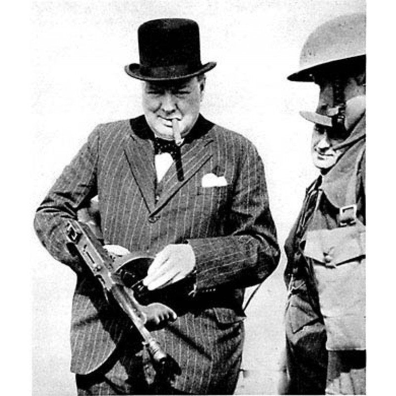 Churchill With Tommy Gun, 1940