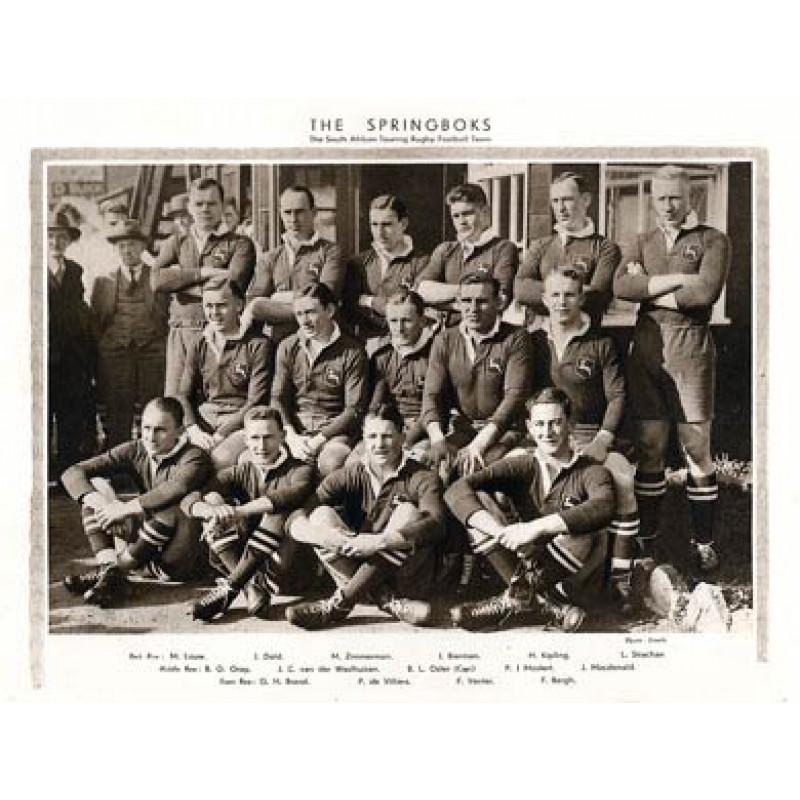 Springboks Touring Side, 1931