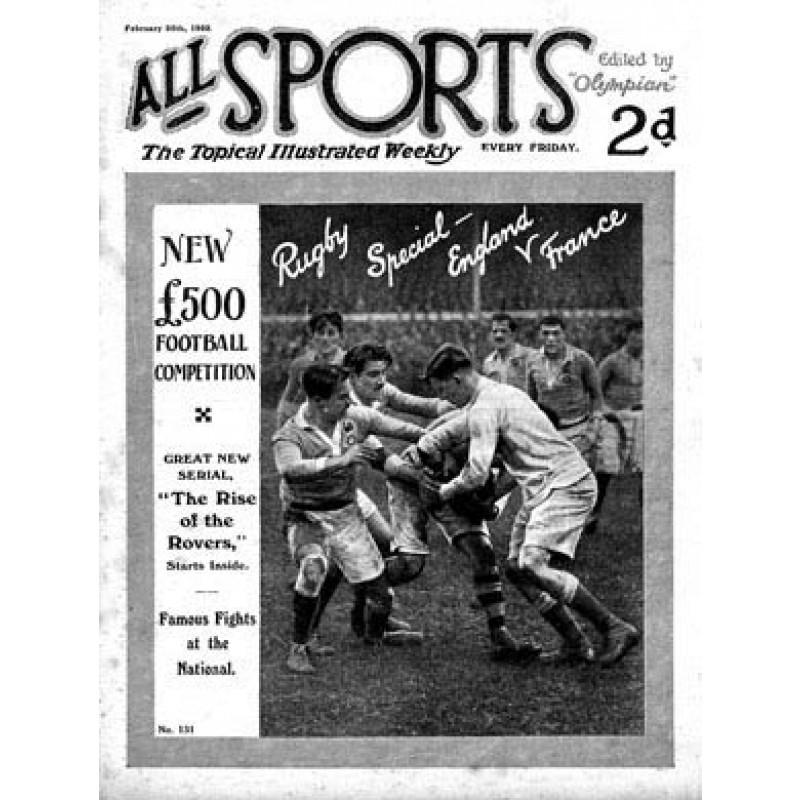 All Sports, England v France, 1922