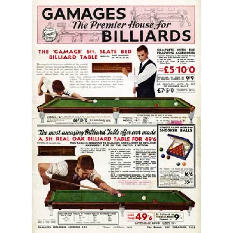 Gamages Billiards Tables